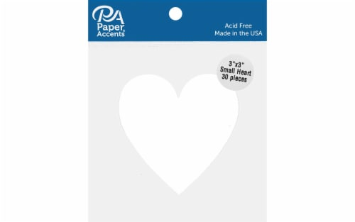 Cdstk Shape Small Heart 3x3 30pc 65lb White Perspective: front