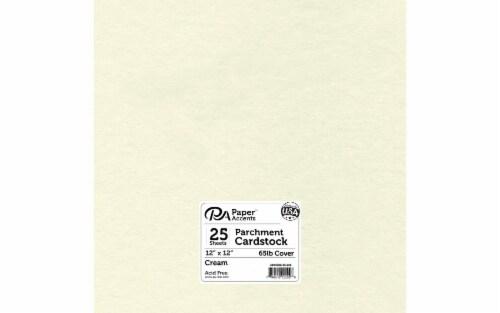 Cdstk Parchment 12x12 65lb 25pc Pk Cream Perspective: front