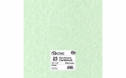 Cdstk Parchment 12x12 65lb 25pc Pk Green Perspective: front