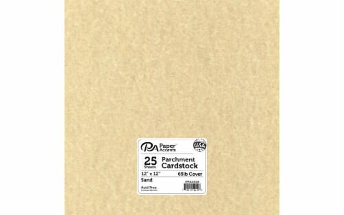 Cdstk Parchment 12x12 65lb 25pc Pk Sand Perspective: front