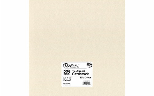 Cdstk Textured 12x12 80lb 25pcPk Natural Perspective: front