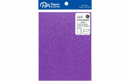 Card & Env 4.25x5.5 12pc Glitter Grape Jam Perspective: front