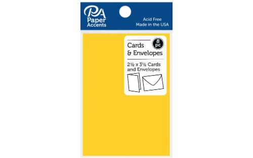 Card & Env 2.5x3.5 Smooth 65lb 8pc Canary Yellow Perspective: front