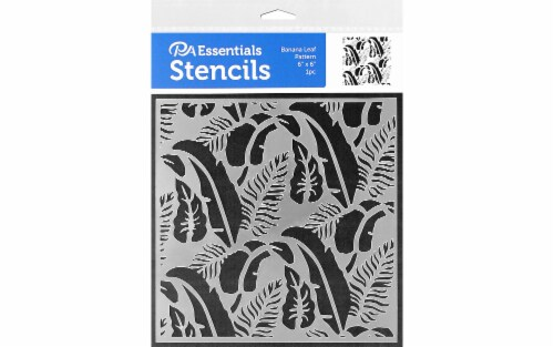 PA Ess Stencil 6x6 Banana Leaf Pattern Perspective: front
