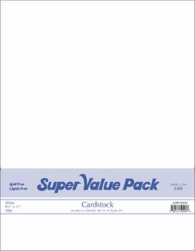 Paper Accents Super Value Pack Card Stock - 50 Count - White Perspective: front