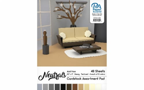 Cardstock Pad 8.5x11 48pc Neutral Assortment Perspective: front