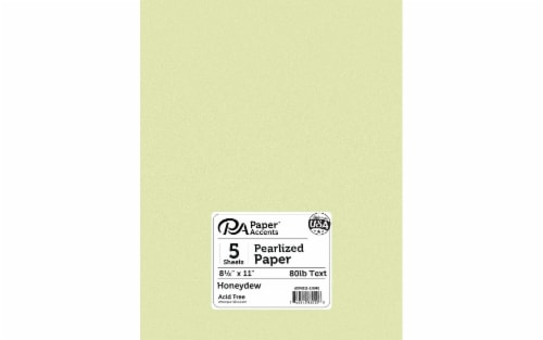 Paper Pearlized 8.5x11 80lb Honeydew 5pc Perspective: front