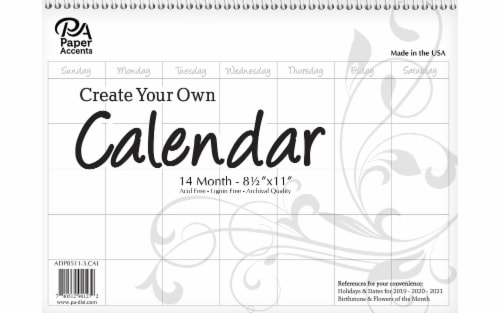 CYO Calendar 8.5x11 14 Month Landscape Blank White Perspective: front