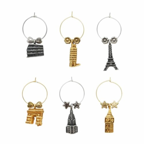 Supreme Housewares Wine Glass Charms, Around The World Perspective: front