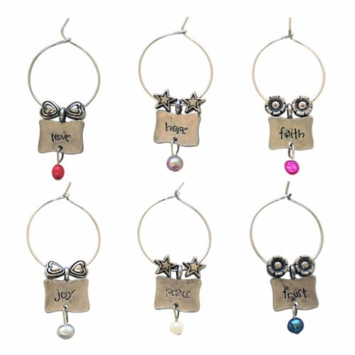 Supreme Housewares Wine Glass Charms, Pearls of Wisdom Perspective: front