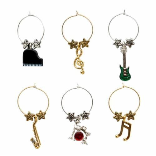 Supreme Housewares Wine Glass Charms, All That Jazz Perspective: front