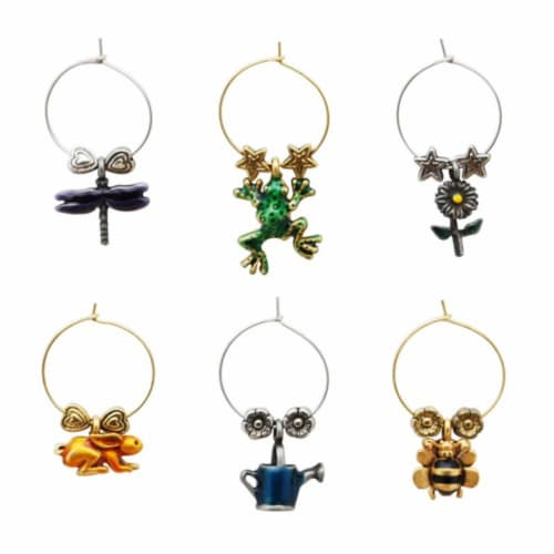 Supreme Housewares Wine Glass Charms, Buds & Bugs Perspective: front