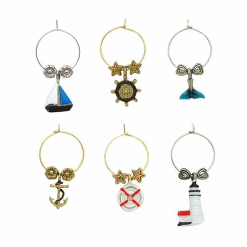 Supreme Housewares Wine Glass Charms, Ahoy! Perspective: front