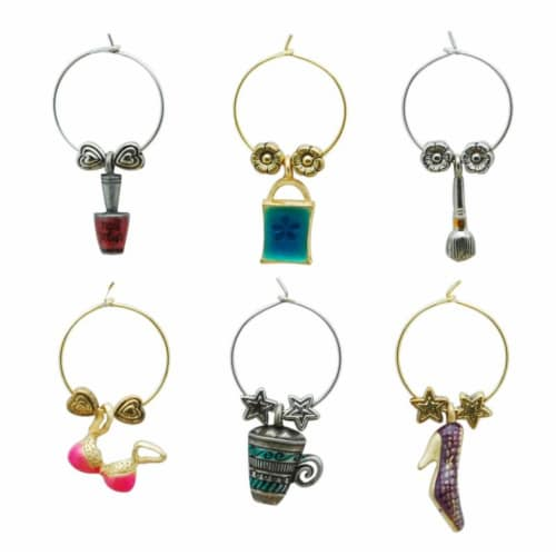 Supreme Housewares Wine Glass Charms, Girls Rule Perspective: front