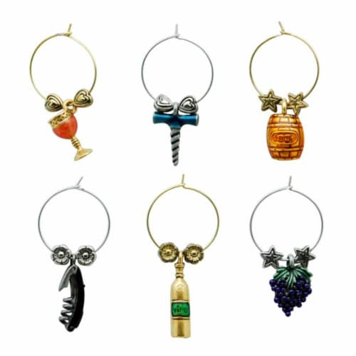 Supreme Housewares Wine Glass Charms, Grapevine Perspective: front
