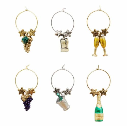Supreme Housewares Wine Glass Charms, Celebrate Perspective: front