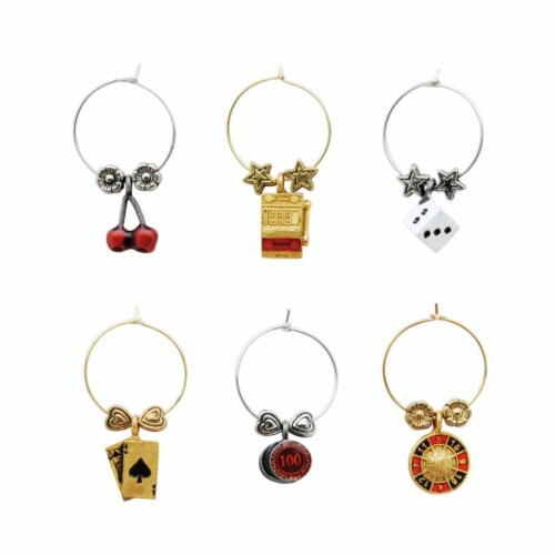 Supreme Housewares Wine Glass Charms, Casino Perspective: front
