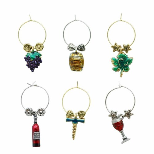 Supreme Housewares Wine Glass Charms, Vino Colore Perspective: front
