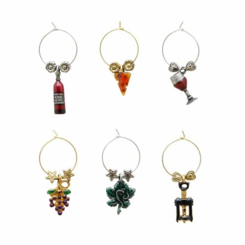 Supreme Housewares Wine Glass Charms, Vineyard Perspective: front