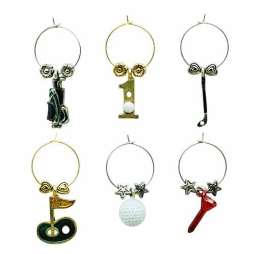 Supreme Housewares Wine Glass Charms, Hole In One Perspective: front