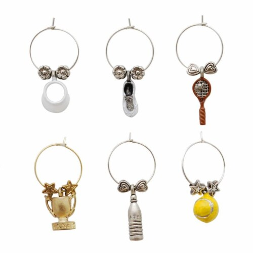 Supreme Housewares Wine Glass Charms, Tennis Ace Perspective: front