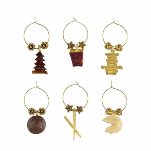 Supreme Housewares Wine Glass Charms, Fortune Cookies Perspective: front