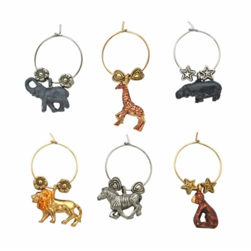 Supreme Housewares Wine Glass Charms, Safari Perspective: front