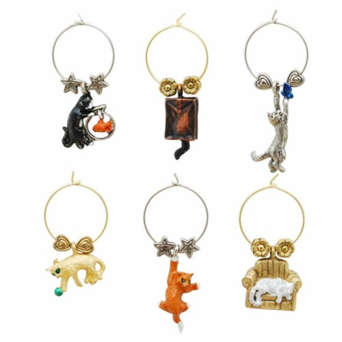 Supreme Housewares Wine Glass Charms, Cats Perspective: front
