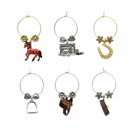 Supreme Housewares Wine Glass Charms, Equestrian Perspective: front