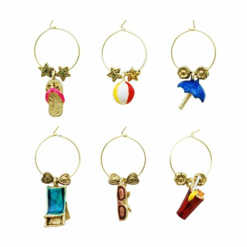 Supreme Housewares Wine Glass Charms, On The Beach Perspective: front