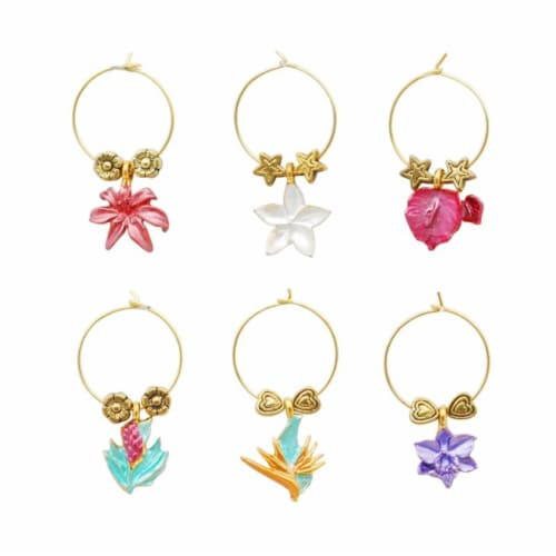 Supreme Housewares Wine Glass Charms, Tropical Paradise Perspective: front