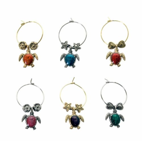 Supreme Housewares Wine Glass Charms, Sea Turtles Perspective: front