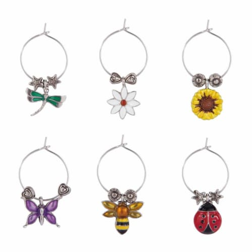 Supreme Housewares Wine Glass Charms, Flowers & Friends Perspective: front