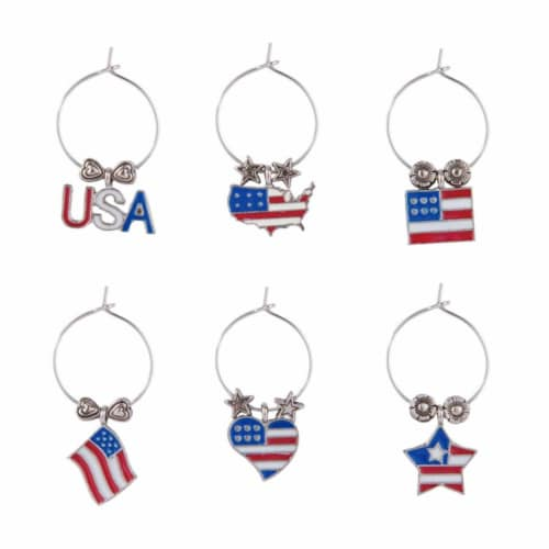 Supreme Housewares Wine Glass Charms, Go USA Perspective: front
