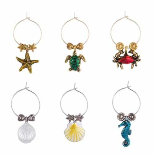 Supreme Housewares Wine Glass Charms, Walk the Beach Perspective: front