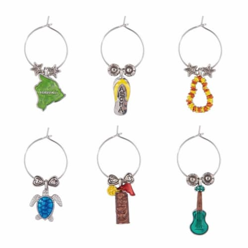 Supreme Housewares Wine Glass Charms, Hawaiian Paradise Perspective: front