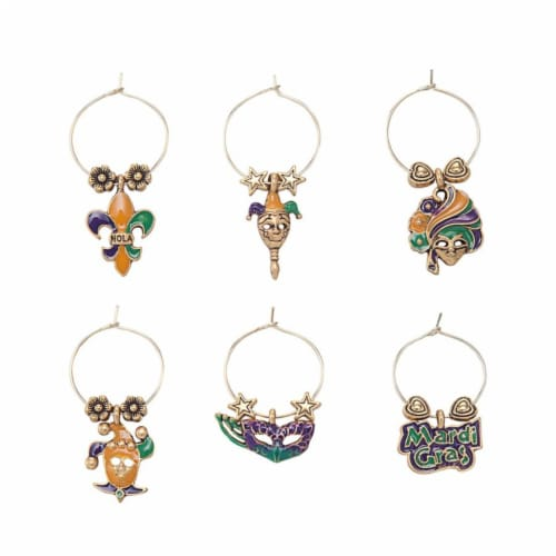 Supreme Housewares Wine Glass Charms, Celebrating Mardi Gras Perspective: front