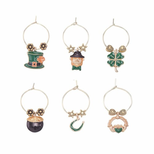 Supreme Housewares Wine Glass Charms, Luck of The Irish Perspective: front