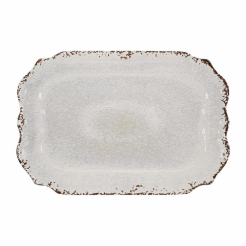 "Supreme Housewares Crackle 20"" Rectangular Tray, Cream Perspective: front"