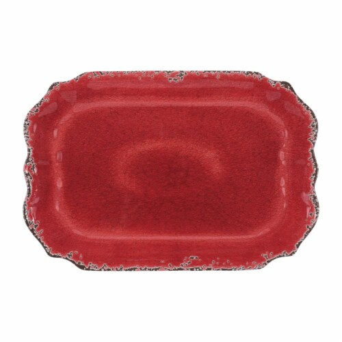 "Supreme Housewares Crackle 20"" Rectangular Tray, Red Perspective: front"