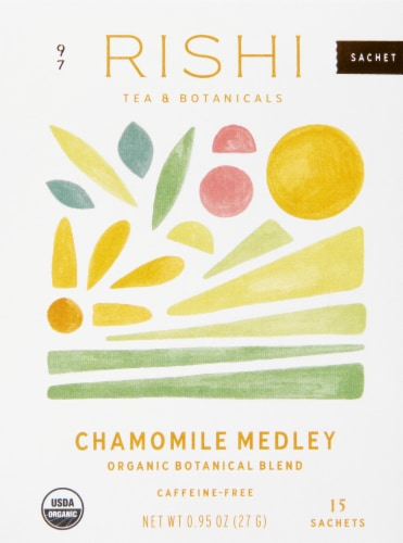 Rishi Tea Chamomile Medley Organic Botanical Blend Tea Sachets Perspective: front