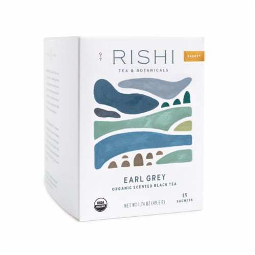 Rishi Tea Earl Grey Organic Scented Black Tea Sachets Perspective: front