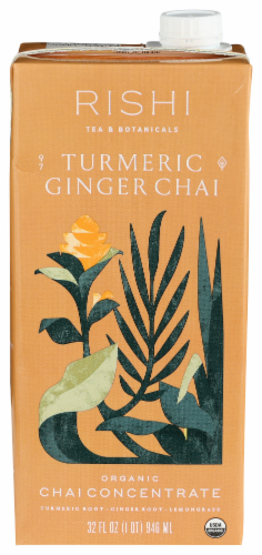 Rishi - Tea Concentrate - Turmeric Ginger Chai - Case of 12 - 32 fl oz. Perspective: front