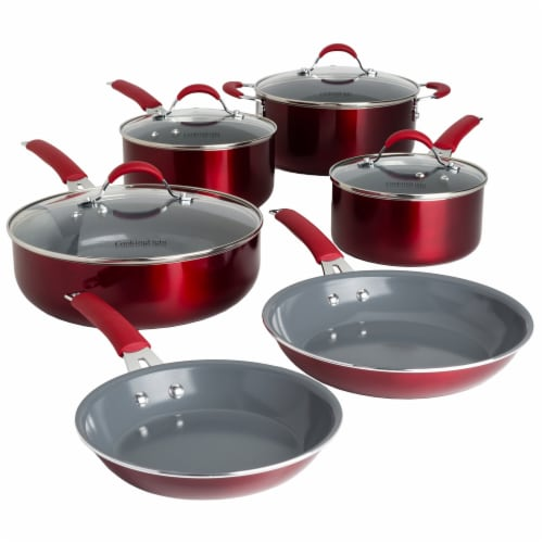 Cooking Light Allure Non-Stick Ceramic Cookware Set - Red Perspective: front