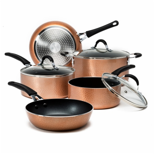 Ecolution Impressions Cookware Set - Hammered Copper Perspective: front