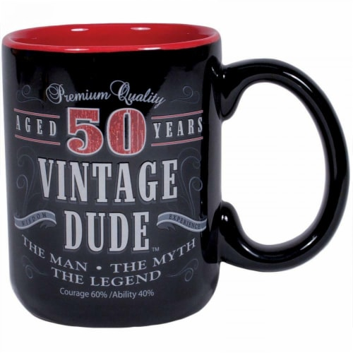 Creative Converting CF11015 14 oz Vintage Dude 50th Birthday Coffee Mug Perspective: front