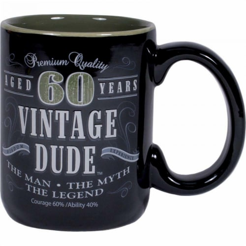 Creative Converting CF11016 14 oz Vintage Dude 60th Birthday Coffee Mug Perspective: front