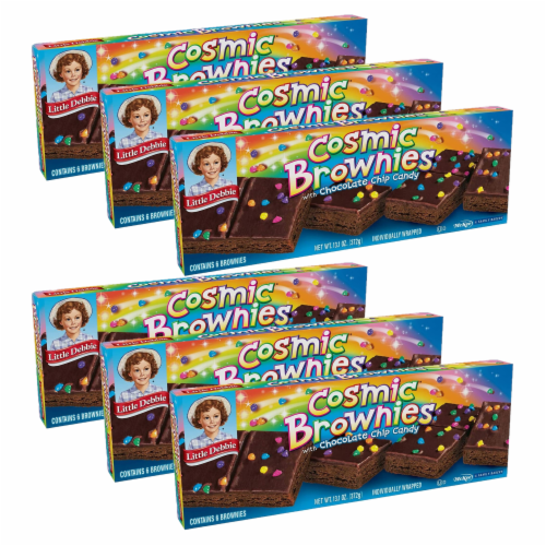 Cosmic Brownies, 6 Boxes, 36 Individually Wrapped Brownies With a Candy Coating Perspective: front