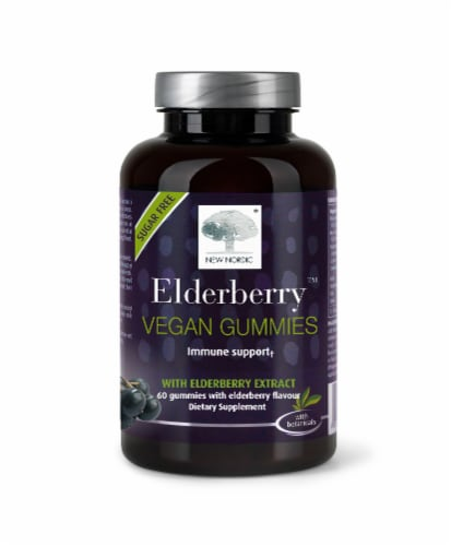 New Nordic Elderberry Sugar Free Vegan Gummies Perspective: front