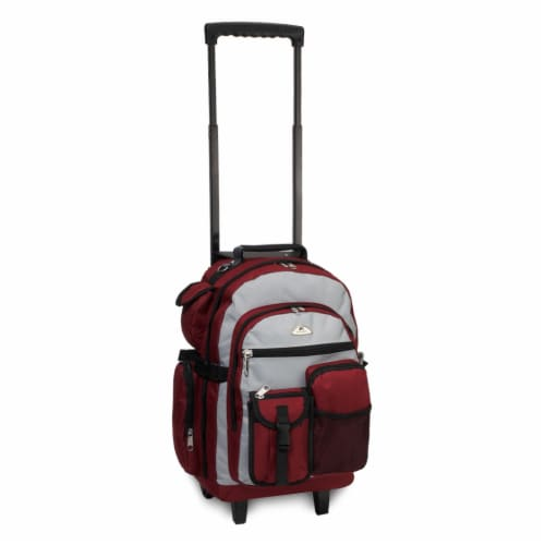 Everest Deluxe Wheeled Backpack - Burgundy / Gray / Black Perspective: front